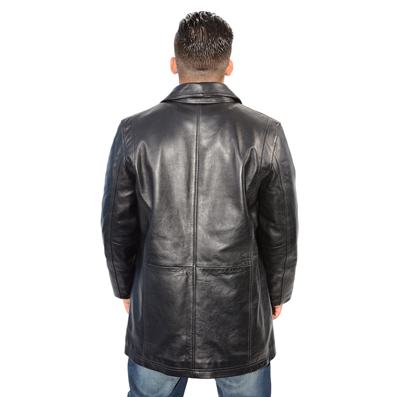 Milwaukee Leather Mens Classic Four Button Front Car Coat Black Medium