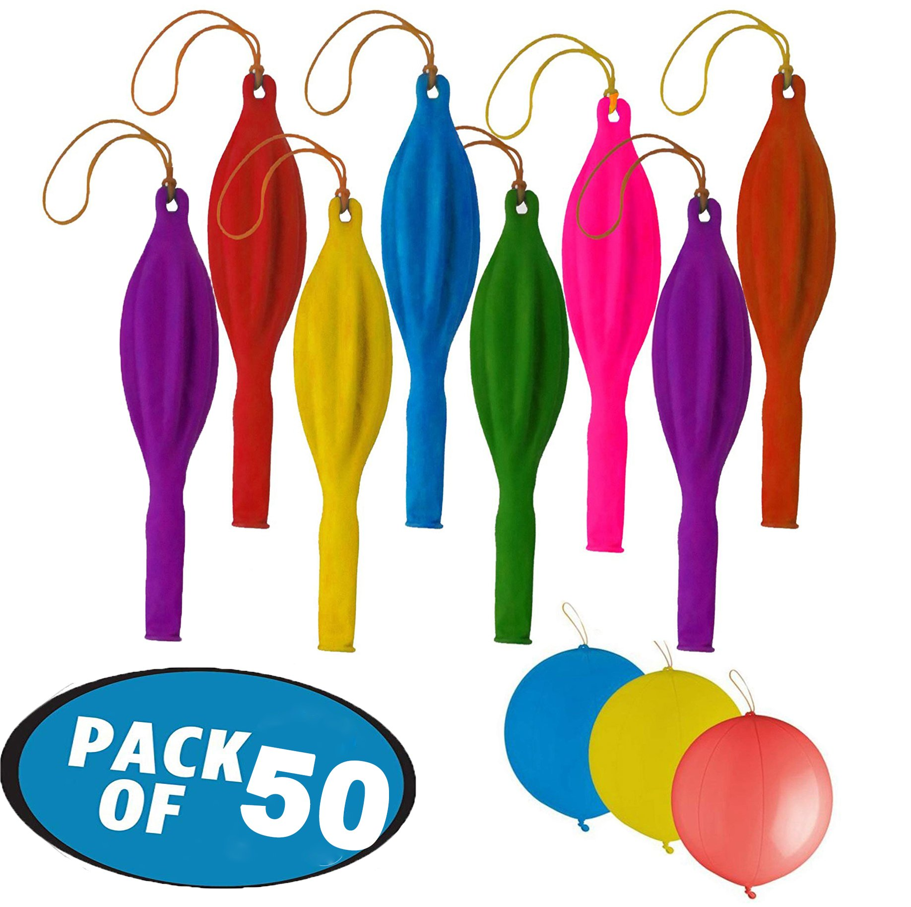 Originalidad 50pcs 18'' Assorted Color Punching Balloons, Punch Balls with Rubber Band Handle for Party, Wedding