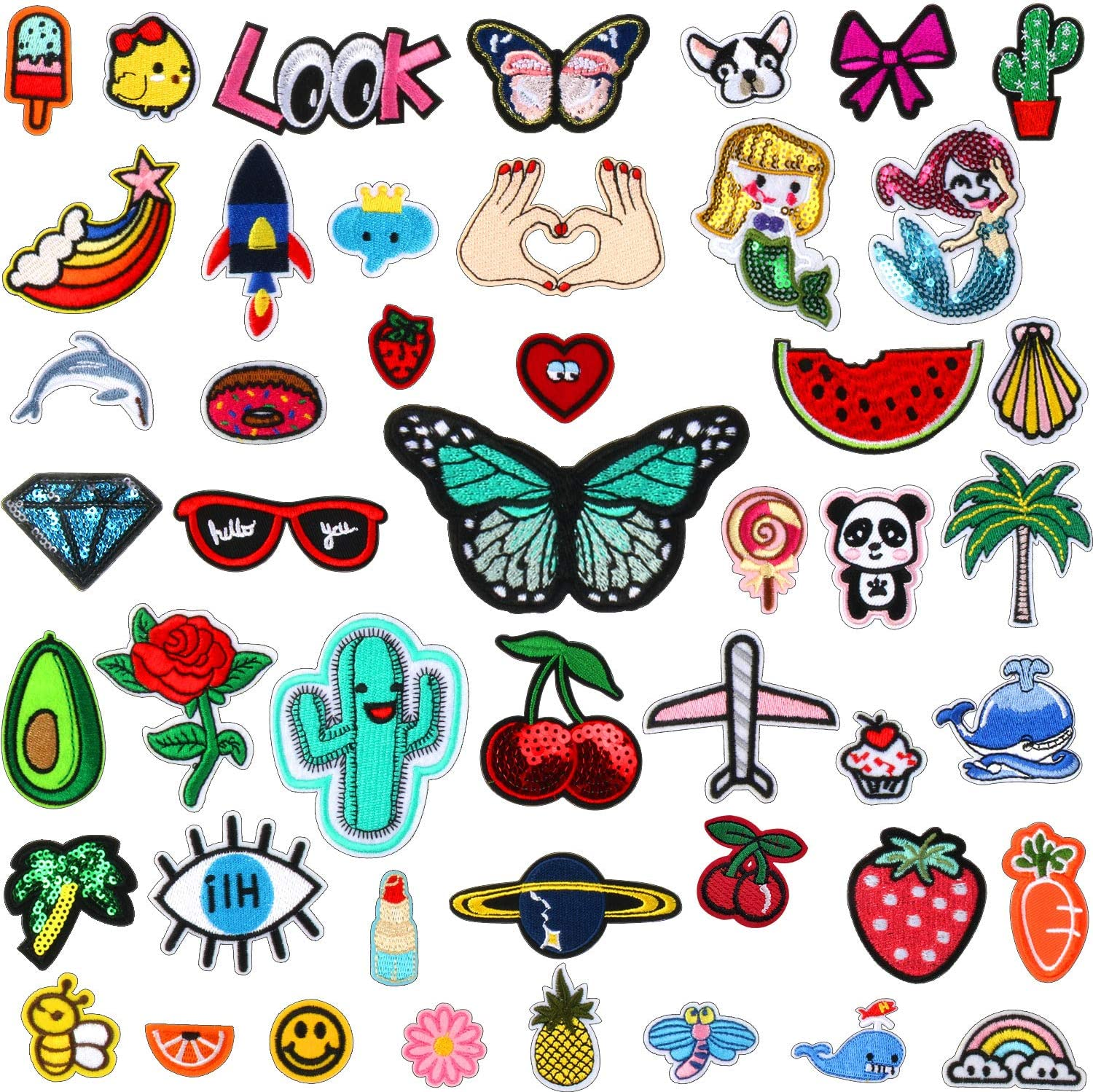 50pcs Assorted Styles Embroidered Iron on Patches DIY Sew Applique Repair Patch