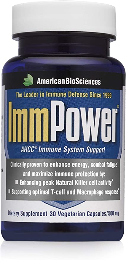 American BioSciences ImmPower AHCC Supplement, Enhanced Immune Support, Natural Killer Cell Activity and Cytokine Production, 30 Vegetarian Capsules, 500 milligrams per Capsule