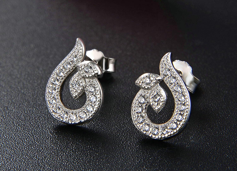 Knsam Stud Earrings Women Silver Pear Cubic Zirconia Silver Earring 11.2Mm Dangle Earrings Women