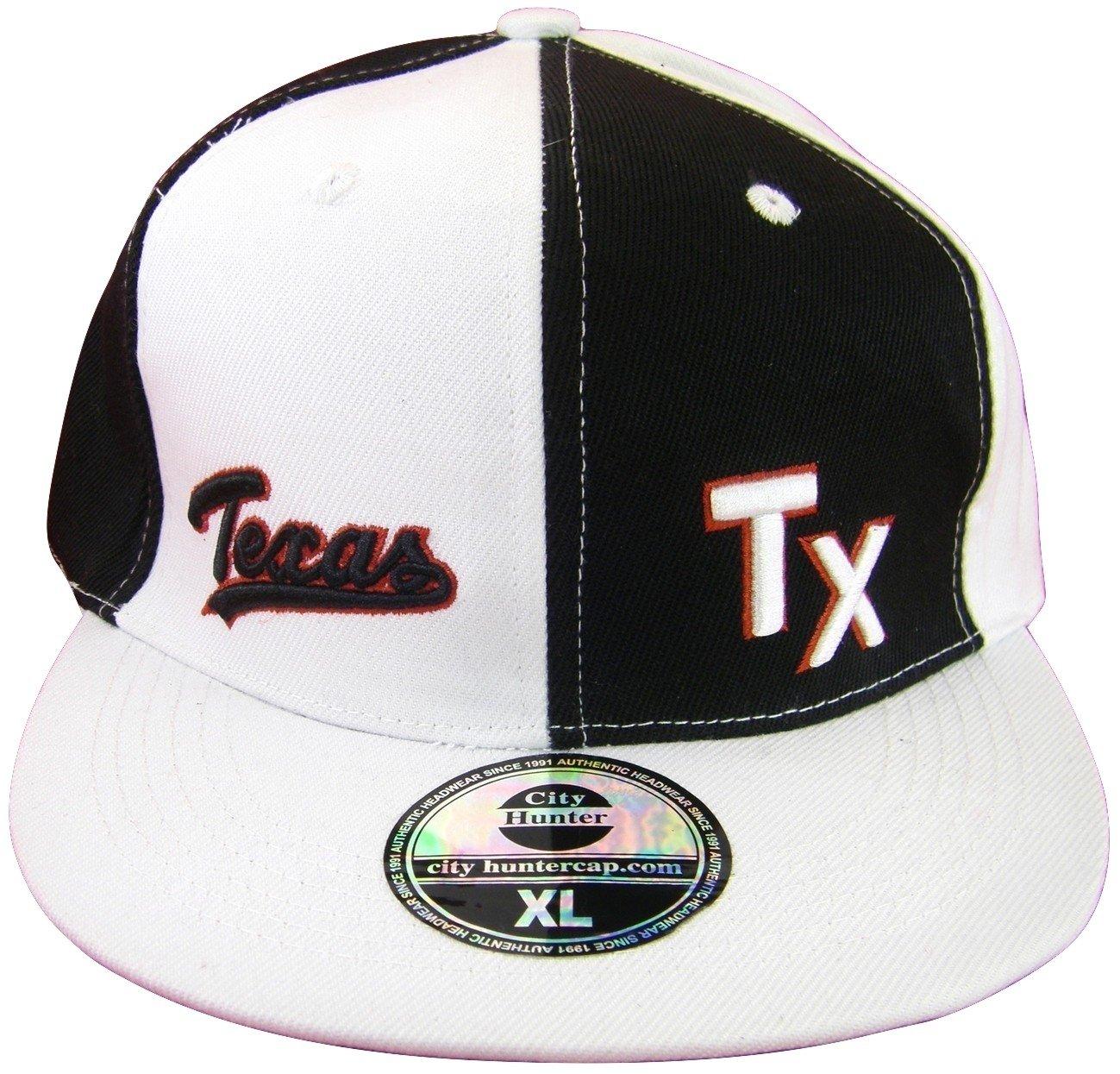 Texasメンズフィットフラットつば野球キャップ B06XF9TTHG TX White/Black Pinwheel XL XL TX White/Black Pinwheel