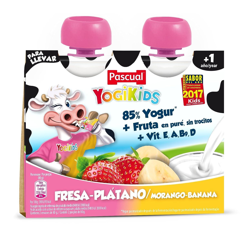 Pascual Yogur Liquido Fresa-Plátano - Paquete de 2 x 80 gr - Total ...