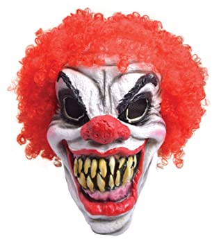 creepy clown mask scary halloween accessory with curly red hair big teeth