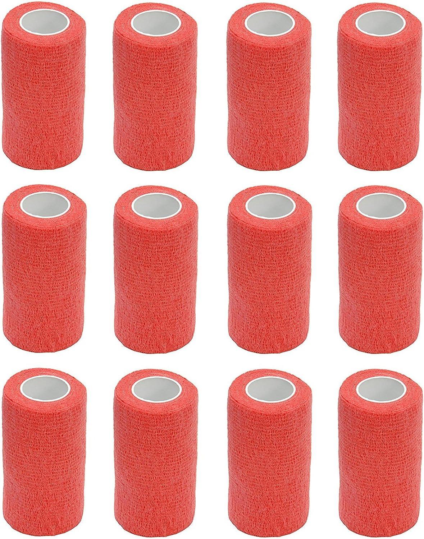 Vendaje autoadhesivo (12rollos) de 10cm x 4,5m, para primeros auxilios, deportes, vendas, animales, de Cobox