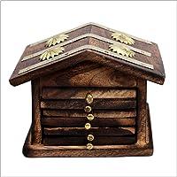 Venus Wooden Home Wellness Tea Coaster In Decorative Hut Shaped Holder, Antique Finish (Brown) - Set of 6
