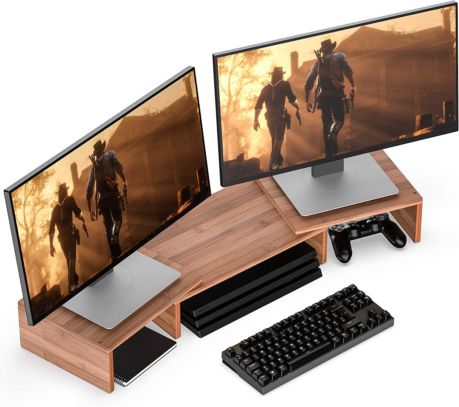Well Weng Dual Monitor Riser with Adjustable Length and Angle Desktop Stand 3 Shelf Storage Organizer,Bamboo