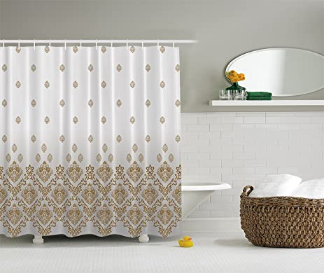 Mandala Shower Curtain Damask Home Decor Bathroom Collection, Vintage  Romantic Country Victorian Style With Ombre