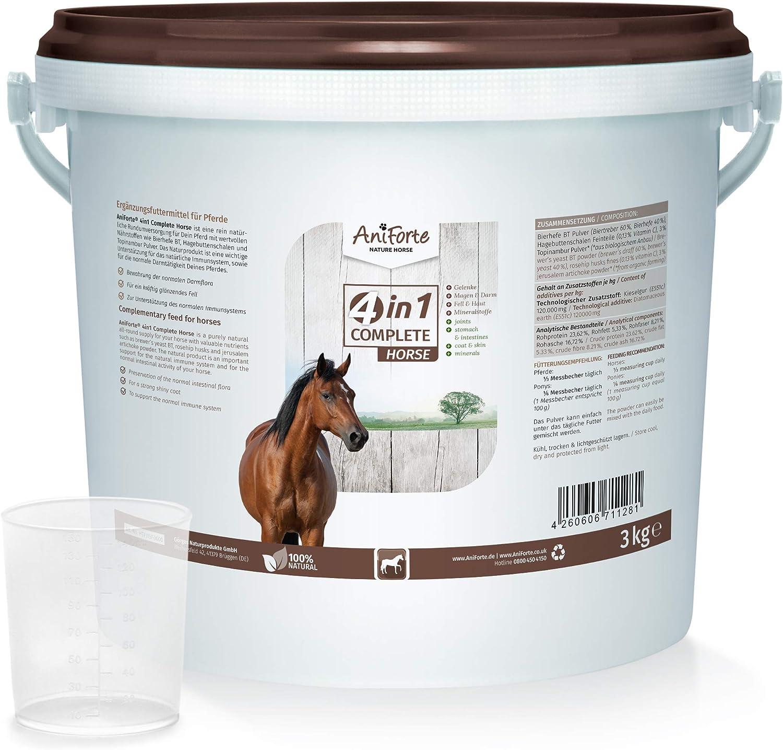 Alimento para caballos Aniforte 4 en1 Complete, 3kg, cuidado general para caballos, levadura de cerveza BT, polvo de escaramujo, diatomita, topinambur, Fabricado en Alemania