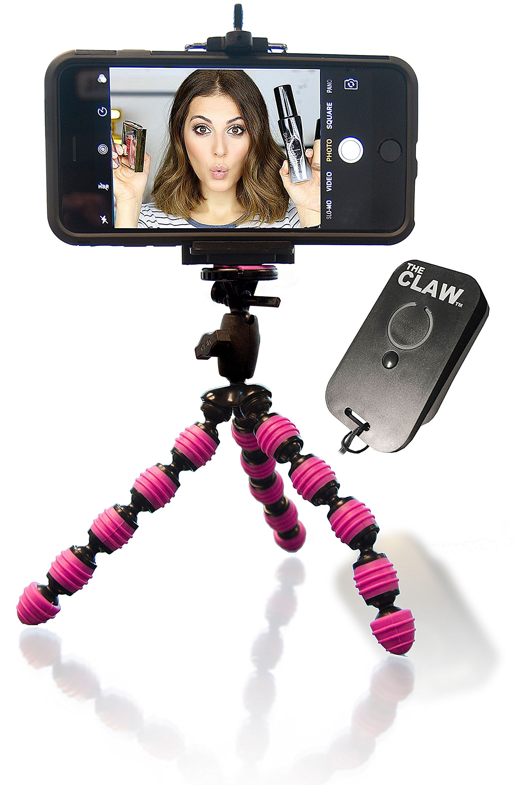 iPhone Tripod Bundle with Rechargeable Remote Bluetooth for iOS Locking Head Compact Mini Flexible GoPro Camera Video Facetime Skype Webcam & Selfie by The CLAW