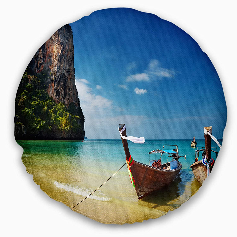 Designart CU7000-16-16-C Andaman Sea Tropical Beach\' Photography Round Cushion Cover for Living Room, Sofa Throw Pillow 16\'