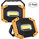 UNIKOO Rechargeable Work Light COB 30W 1500LM, Waterproof LED Portable Flood Light for Outdoor Camping Hiking Emergency Car Repairing Fishing(W841Y-2PACK)