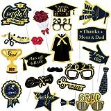2021 Graduation Photo Booth Props, Dark Blue Black Gold Graduation Decorations for Graduation Party Supplies, 2021 Grad…