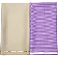My Fabric Store Men's Poly Cotton Shirt 2.2 m and Trouser 1.3 m Fabric Combo (Purple, Free Size)