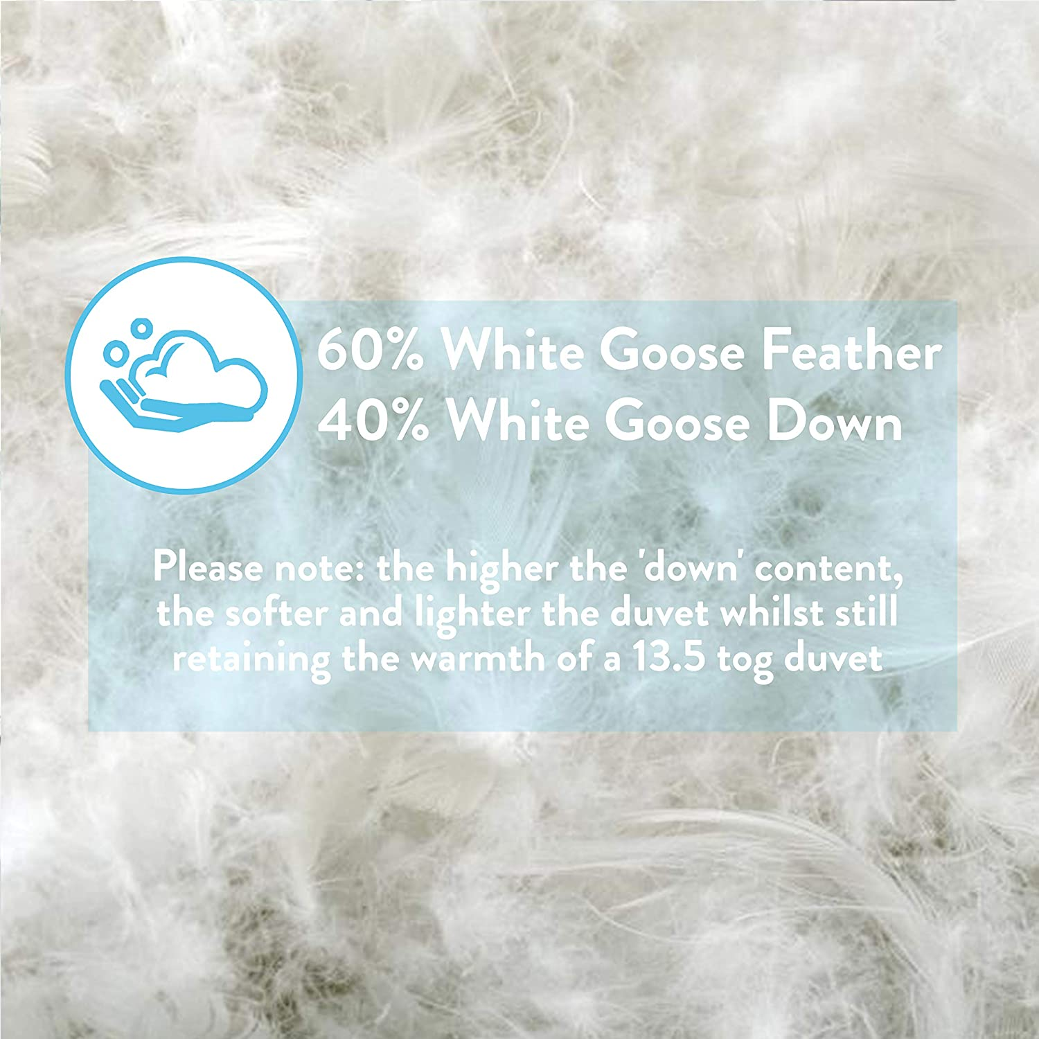 Viceroybedding Goose Feather And Down Duvet/Quilt, 13.5 Tog, Single Bed Size, Contains 40% Down, the higher the 'down' content, the more luxurious the duvet