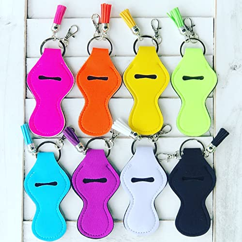 SET OF 8 Summer Colors Neoprene Travel Keychain Case for Essential Oil Roller Bottles, Lipstick