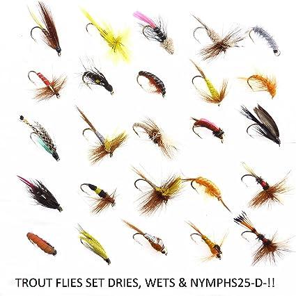 Nass Trocken Forelle Fliegen Fliegenfischen Bass Köder Haken Stream Tackle XJ