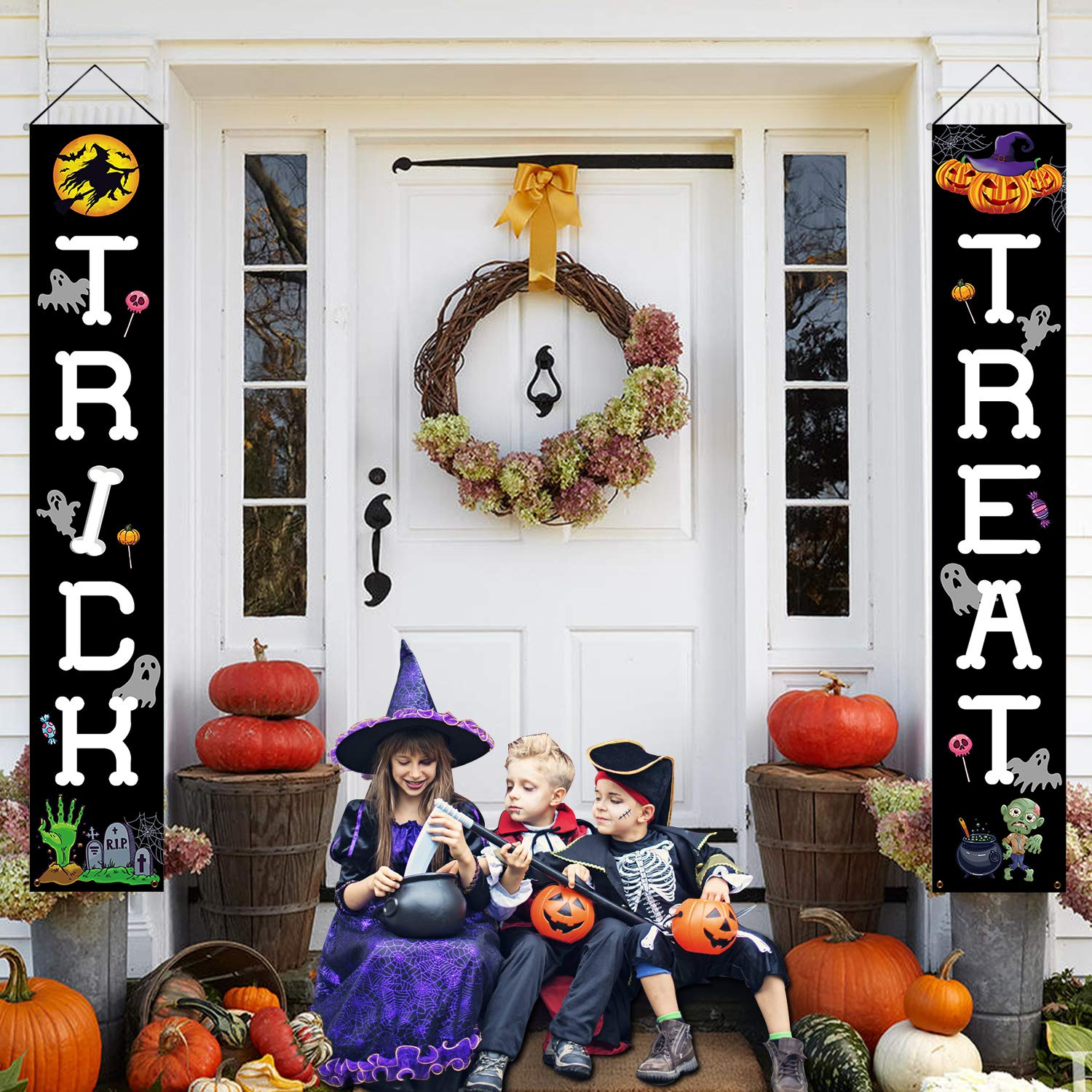 Postivelife Holiday Halloween Front Porch Sign Decorations