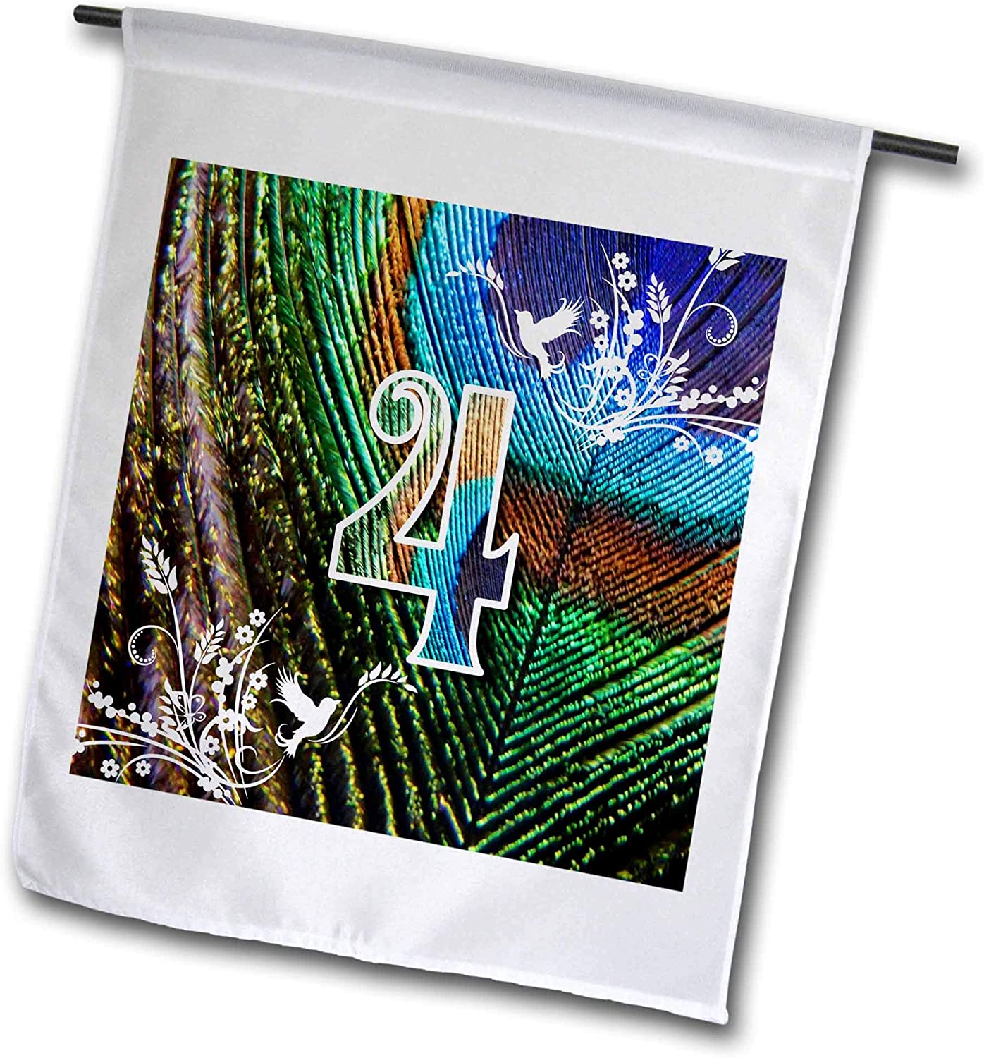 3dRose Russ Billington Design-Peacock Letters and Numbers - Numeral 4- Beautiful Peacock Feather Letters and Numbers - 12 x 18 inch Garden Flag (fl_312205_1)