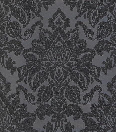 Damask Wallpaper Glitter Glisten Shiny Shine Metallic Dark Grey