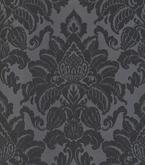 Damask Wallpaper Glitter Glisten Shiny Shine Metallic Dark Grey Charcoal