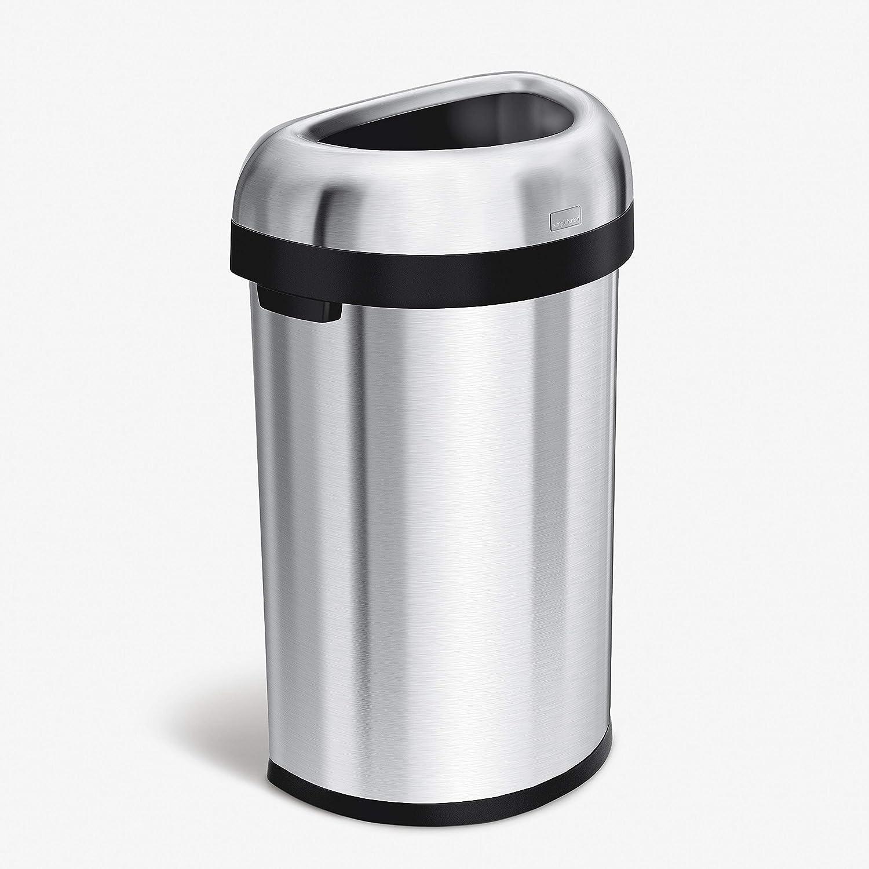 simplehuman, 19 Liter, halbrunder offener Abfalleimer, robuster gebürsteter  Stahl, 19 Jahre Garantie