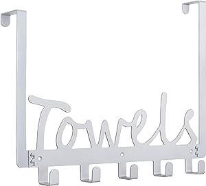 Towel Holder Bath Over The Door 5 Hooks Organizer Rack Heavy-Duty Organizer for Towel, Robe, Coat, Bag
