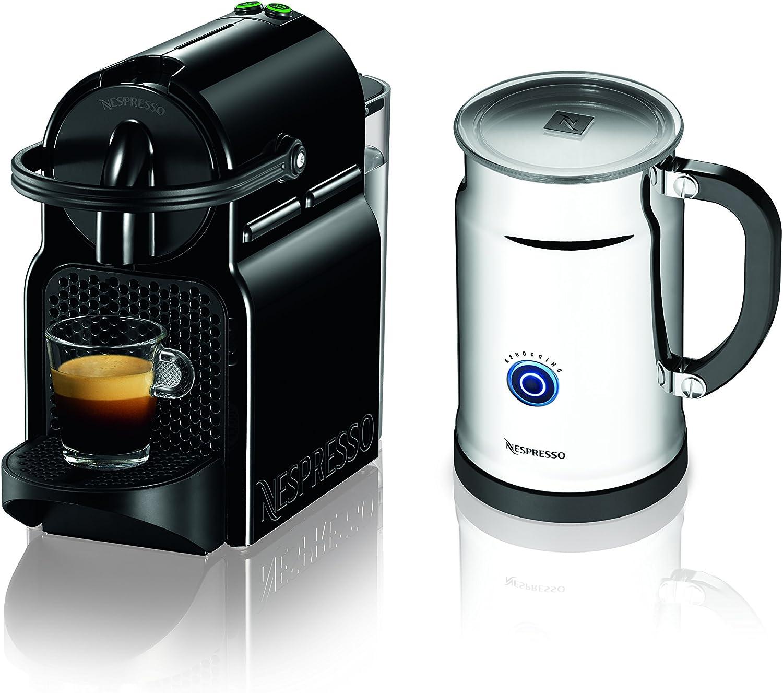 Nespresso Inissia Espresso Maker with Aeroccino Plus Milk Frother, Black Discontinued Model