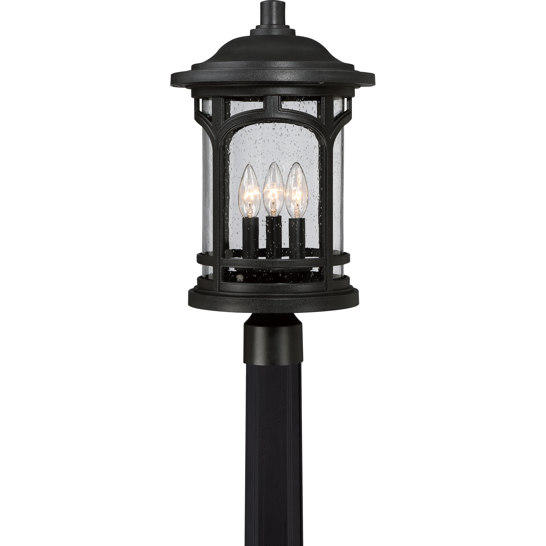 MBH9011K Three Light Post Marblehead Outdoor Lantern in Mystic Black