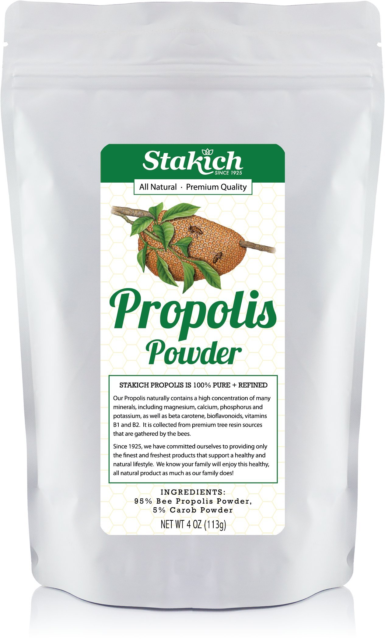 Stakich BEE PROPOLIS POWDER w/ 5% CAROB - 100% Pure, All Natural, Top Quality - 4 oz