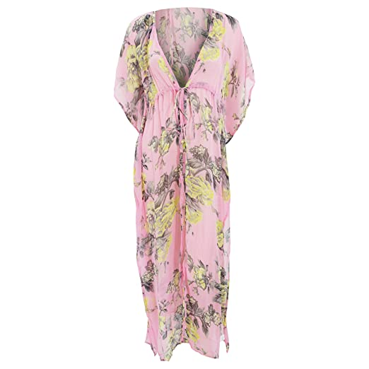 05ece21cf1 Womens/Ladies Neon Floral Rose Print Chiffon Kaftan Cover Up Beach Dress  (Small) (Pink) at Amazon Women's Clothing store: