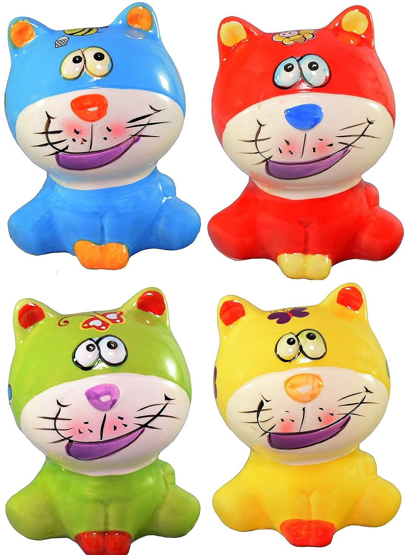 Cat Piggy Bank - Ceramic Set of 4 = (Red, Blue, Green, Yellow)   B01M694TRI