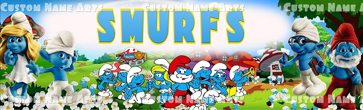 "The Smurfs Poster 30/"" x 8.5/"" Personalized Custom Name Painting Printing"