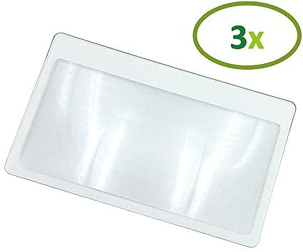 Thorani Lupa de bolsillo en formato de tarjeta de crédito/lupa de aumento con 3 aumentos, ultra delgada, flexible e inastillable - 3 piezas