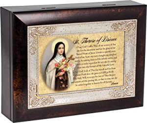 Cottage Garden St. Therese of Lisieux Dark Wood Finish Jewelry Music Box Plays Tune Ave Maria