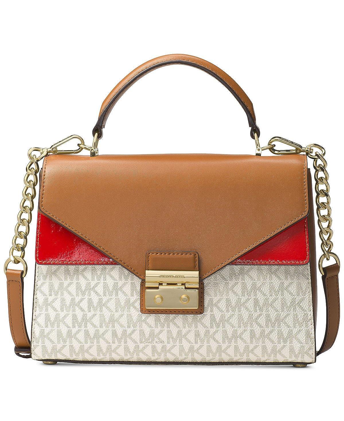 45abb34e1fd3 Amazon.com: MICHAEL Michael Kors Sloan Medium Top-Handle Logo Leather  Satchel, Vanilla Acorn Bright Red: Shoes