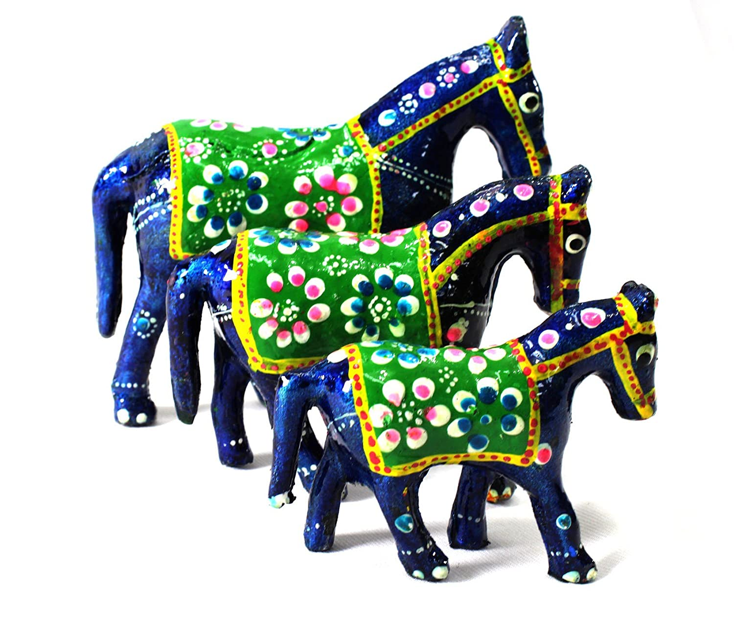 AMBA HANDICRAFT decorative feng shui traditional carved wooden handcrafted thai good luck horse figurine indian craftsmanship for home work Diwali anniversary birthday interior gift.W156