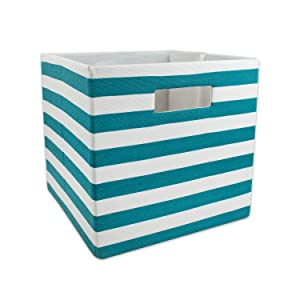 DII Foldable Fabric Storage Container for Nurseries, Offices, Closets, Home Décor, Cube Organizer & Everyday Use, 13 x 13 x 13, Stripe Teal, Large