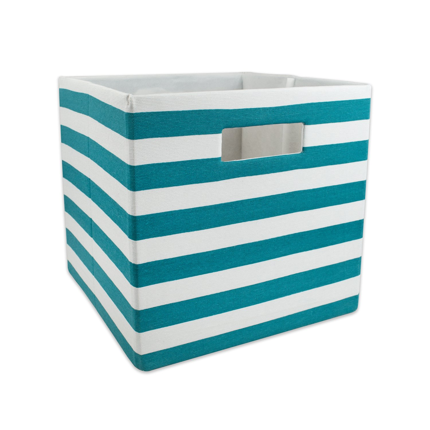 DII Hard Sided Collapsible Fabric Storage Container for Nursery, Offices, Home Organization, (13x13x13) - Stripe Teal