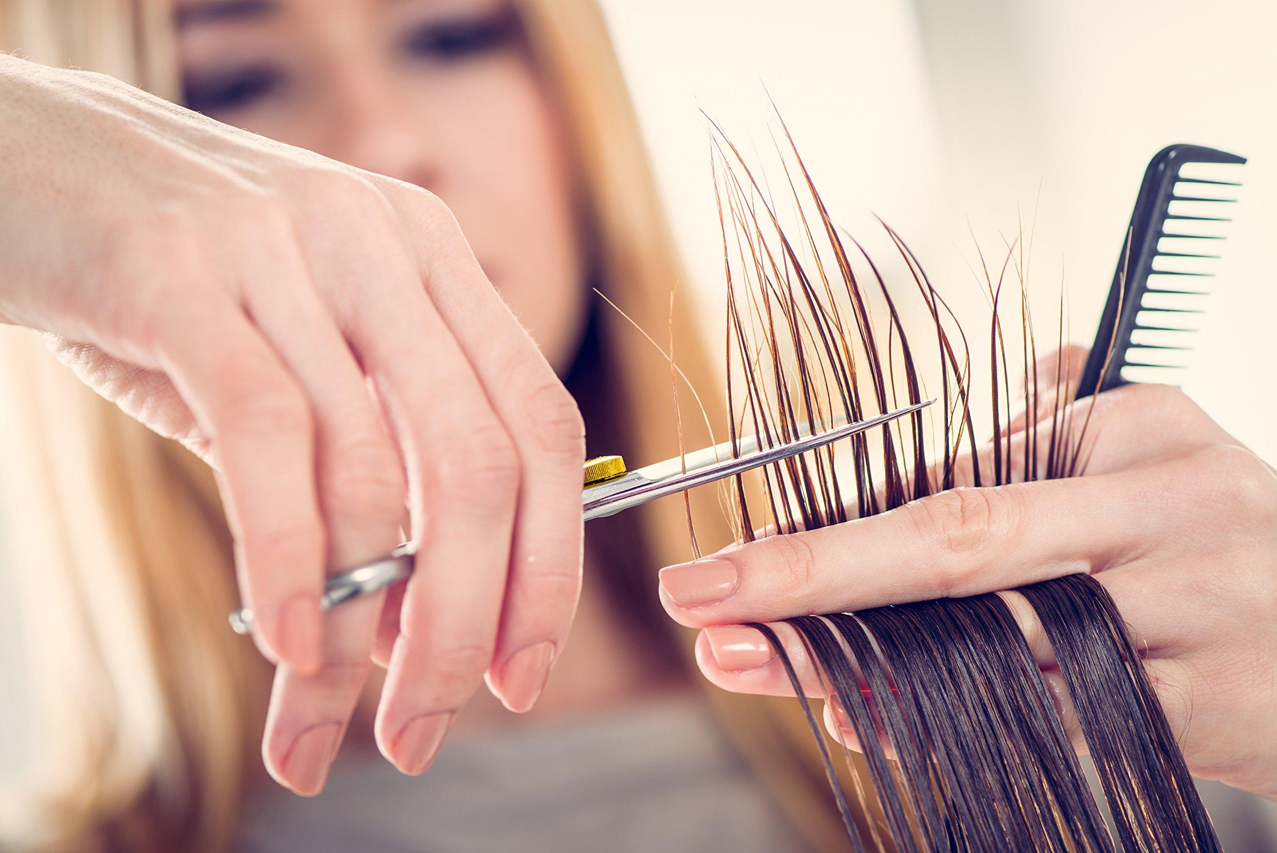 Professional Barber Scissor Hair Cutting Set - 6.5'' - 1 Straight Edge Hair Scissor, 1 Texturizing Thinning Shears, Plus Bonus Faux Leather Case - By ShearGuru … by ShearGuru (Image #5)