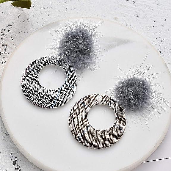 Fashion Mink Hair Ball Plaid cercle géométrique Drop Earring Hoop Ear Stud Bijoux