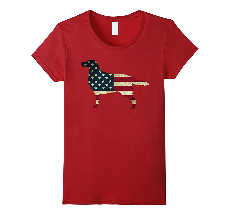 Golden Retriever Patriotic USA Flag Tee Shirt-Yolotee