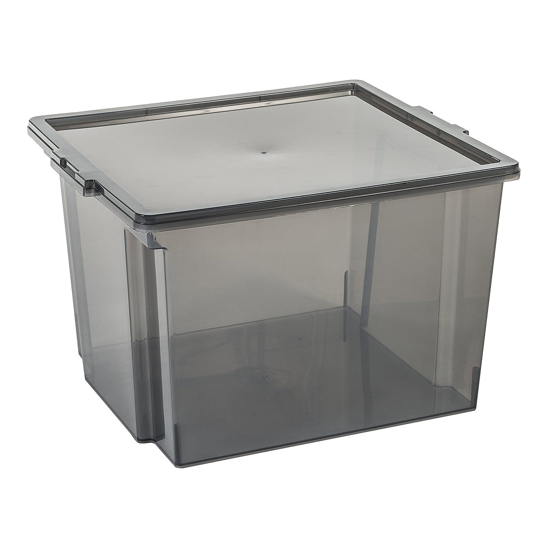 USB-S Kunststoff 24 x 29 x 18,5 cm 13 L IRIS transparentes Grau 3er-Set Aufbewahrungsboxen // Kisten mit Deckel // Stapelboxen Useful Storage Box