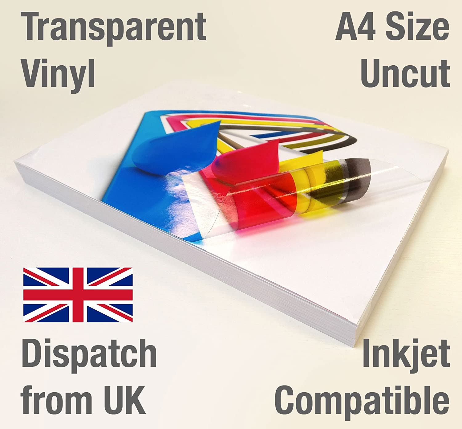 15 Sheets A4 Clear/Transparent Vinyl Glossy Self Adhesive Sticker Quality Inkjet Printable EVG