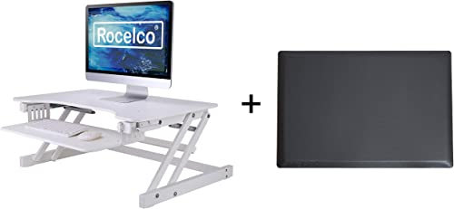 Rocelco 32 Height Adjustable Standing Desk Converter with Anti Fatigue Mat Bundle Sit Stand Up Dual Monitor Riser Computer Workstation Large Retractable Keyboard Tray White R ADRW-MAFM