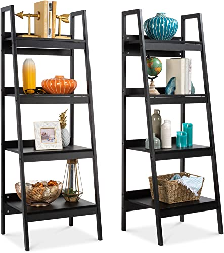 Choice Products Set of 2 Multipurpose Wooden 4-Shelf Open Ladder Bookcase Storage Display Organizers