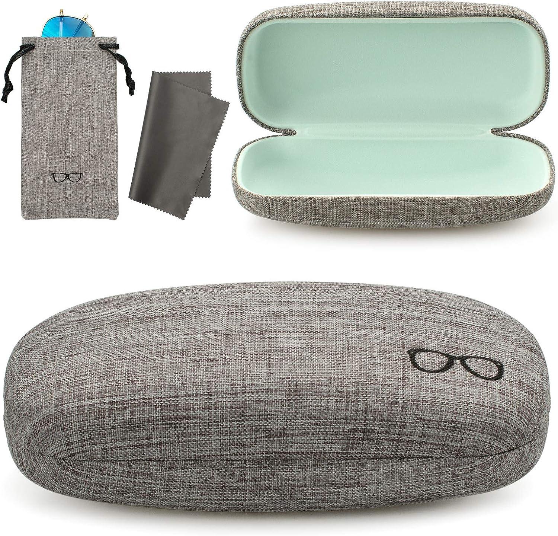 Vemiss Hard Shell Eyeglasses Case Linen Fabrics Large Sunglasses Case Concise