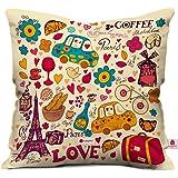 indibni Love Printed Cushion 12X12 Pillow with Filler Insert Beidge Paris Coffee Love