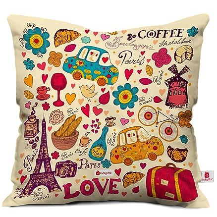 Indibni Love Printed Cushion 12X12 Pillow With Filler Insert Beidge Paris Coffee
