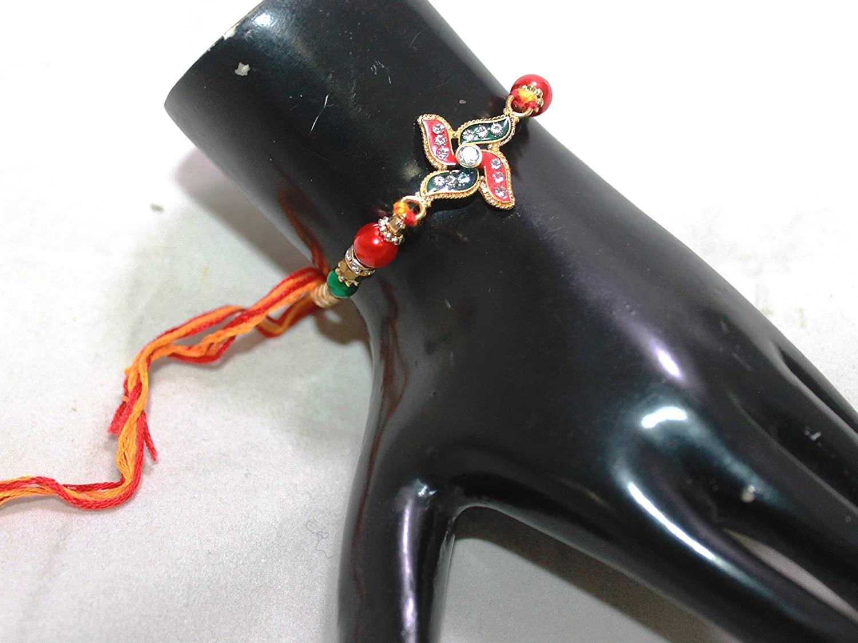 IndianStore4All - Pulsera de Metal con diseño de Flor roja y Verde ...